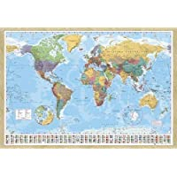World Map Pin Board Framed In Oak Wood Includes Pins - 96.5 x 66 cms (Approx 38 x 26 inches)
