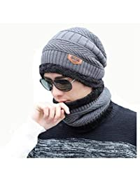7e39551cea169 Alexvyan Grey and Black 1 Set Woolen Beanie Cap and Neck Scarf for Men Women  Warm
