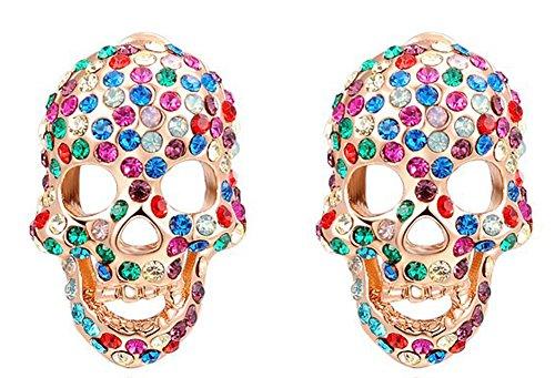 SaySure - Jewelry rose golden Skull color stone Austrian crystal earrrings