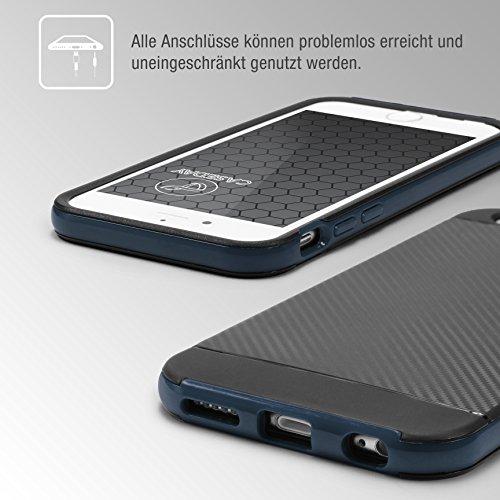 URCOVER® Hybrid Case Carbon Style Housse de Protection   Apple iPhone 6 Plus / 6s Plus   Plastique et Silicone en Noir   Bumper Coque Double-couche Ultra-mince Étui Anti-chocs Cover Compléte Bleu foncé