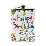 jeansame Personalisierte Hip Drink Fläschchen 8Oz aus Edelstahl für Damen Herren Happy Birthday Floral Blumen Luftballons