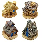 Ljy, 4pezzi casette per fate in miniatura in pietra, mini case per decorare giardini e cortili, accessori per decorare la casa