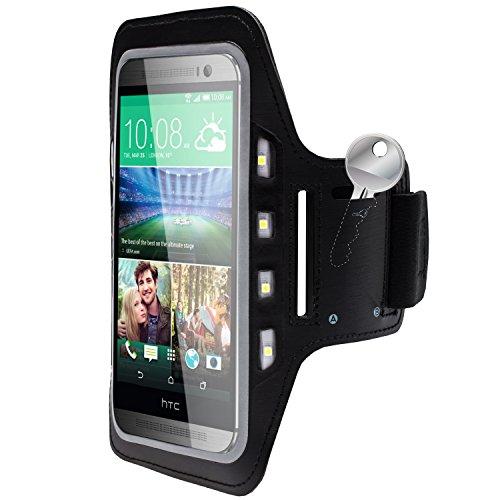Handy LED-Licht Sport Armband Tasche Halter Hülle Case Joggen HTC One M8 Schwarz (Htc One M8 Case Mit Armband)