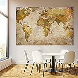 livingdecoration Fototapete Weltkarte 183 x 127 cm Landkarte Vintage historisch alt Worldmap Länder Tapete inklusiv Kleister