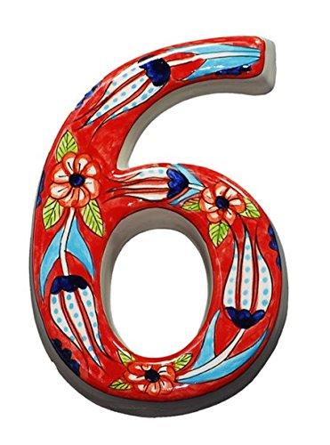 Große Keramik House Adresse Zahlen, rot, 11,9cm hoch, hand verziert, Hausnummer, Schilder, Hausnummern, Einzugs Geschenke rot