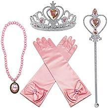 Alead princesa aurora rosado vestir accesorios para las niñas 4 piezas tiara,varita mágica,guantes y collar
