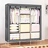 House of Quirk Stainless Steel Durable Sturdy Portable Wardrobe Cloth Closet Organizer with Cover and Clothes Rods Shelves, 66-inch (Grey)