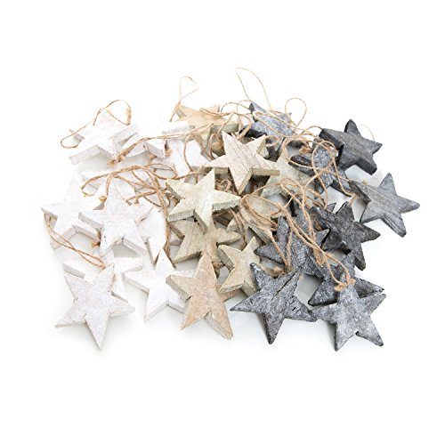 Set: 30étoiles de Noël pendentif en bois Shabby Vintage Gris Blanc et Naturel Marron (env. 7cm) 10pièces cadeau de Noël de pendentif arbre de, Bijoux pour l'écriture et peindre.