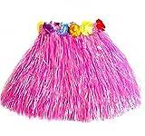 Vi.yo 1 pcs falda de hierba hawaiana para niñas mujeres fiesta hawaiana Luau partido de Hawaii accesorio de la fiesta size 40cm (Rosado)