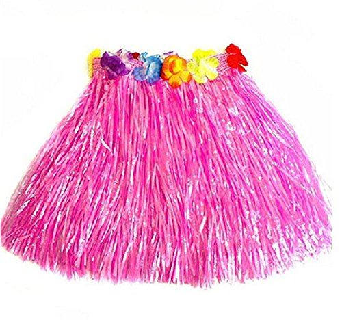 Kentop Hula Röcke Hawaii Party Kostüm Set Hawaiian Grass Rock Tropical Hula Dance Rock (Rosa) (Hula Mädchen Tanz Kostüm)