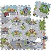 Chicco - Puzzle con diseño ciudad, 9 piezas flexibles, lavable y resistente