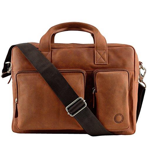 Echt Leder Messenger bag Business Tasche Aktentasche Herrentasche Schultertasche Umhängetasche DIN-A4 Braun Laptoptasche Notebooktasche Cognac Tan