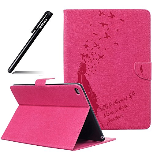 iPad Air 2 iPad 6 Hülle,Schutzhülle Tasche für iPad Air 2 iPad 6,BtDuck Rosa PU Leder Cover Case Brieftasche Kartenfach für iPad Air 2 iPad 6 Silikon Wallet Ledertasche Lederhülle Handyhülle Schale