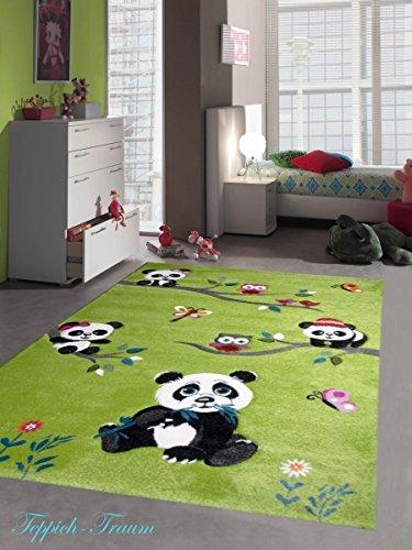 Kinderteppich Spielteppich Kinderzimmer Teppich niedliche Bunte Tiere mit Konturenschnitt Panda Design mit Eulen Schmetterlinge und Vögeln Grün Cream Pink Grau Bunt Größe 140x200 cm