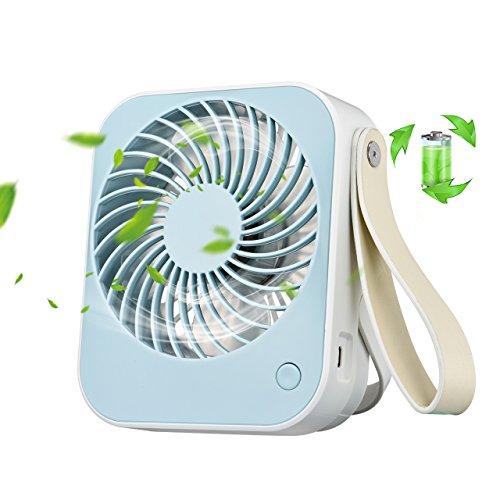 OMORC USB Ventilator, Mini Tischventilator Lüfter Tragbar, klein Ventilatorleise für den Schreibtisch, Büro, Gym und Zimmer - Blau Blau Usb Mini