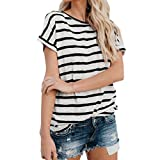 MRULIC Frauen Gestreift Easy Unterhemd Sweatshirt gemütlich tragbar Sommer Must-Haves Tops (EU-42/CN-L, Schwarz)