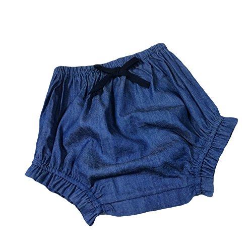 LOSORN ZPY Baby Mädchen Sommer Windelhöschen Pumphose Mit der Süßere Schleife Jeanshose Shorts (70) (Elastische Nadelstreifen-shorts Taille)