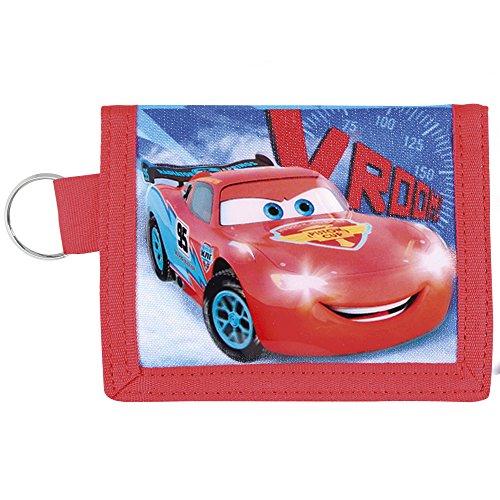 Kinder Geldbörse für Jungen Disney Cars - Portemonnaie mit Motiven aus Lightning McQueen - Roten und Blauen Brieftaschen mit Schlüsselanhänger - Perletti - 9x11 cm (Buch Geldbörse)