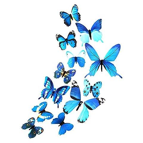DEKOWEAR 3D Schmetterlinge realistisch 12er Set Wanddekoration mit Klebepunkten zur Fixierung Wandtattoo Wandsticker Wanddeko