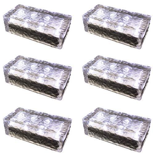 6 pezzi FUCHS Mattonella Solare LED Vetro bianco freddo 19,6x9,6x6 cm - per l\'illuminazione del percorso (antiscivolo)