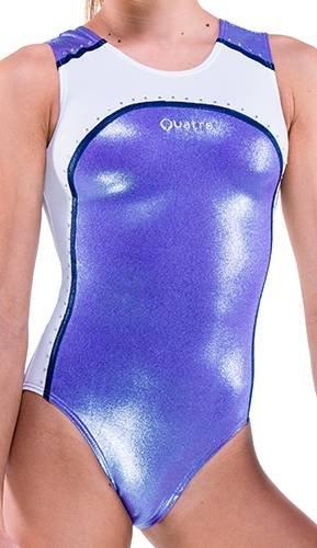 Quatro Mädchen-Trainingsanzug, Gymnastik, Tanzen, Gymnastik, Kurzarm, Rondure SS Lilac Blue, 5-6 Jahre
