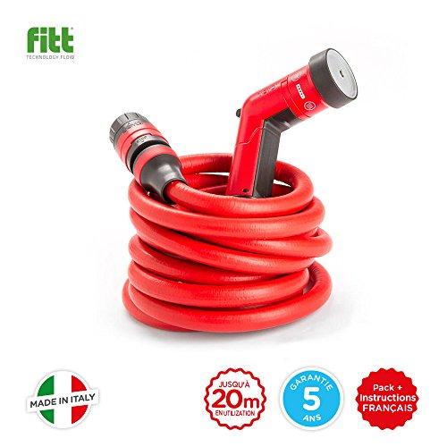 YOYO by FITT - le tuyau pour le jardin, rouge, léger et robuste. Fourni avec pistolet, connecteurs et raccord rapide avec système de sécurité Aquastop, s'allonge de 10 à 20 mètres.