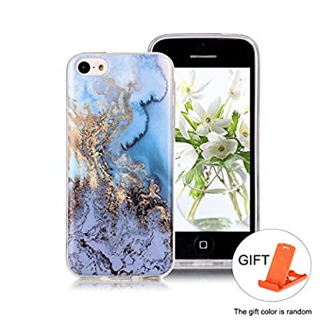Hülle für iPhone 5C Wanxida Marmor Muster Bumper TPU Silikon Schutzhülle Soft Clear Case Cover Ultra Dünne Schlanke Etui Weiche Glatte Tasche Kratzfeste Stoßfeste Handyhülle - Ozean
