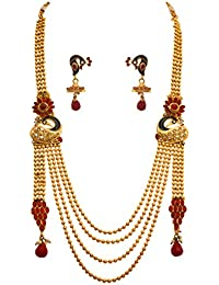JFL - Traditional And Ethnic One Gram Gold Plated Stones Flower Designer Long Necklace Set With Earring For Women...
