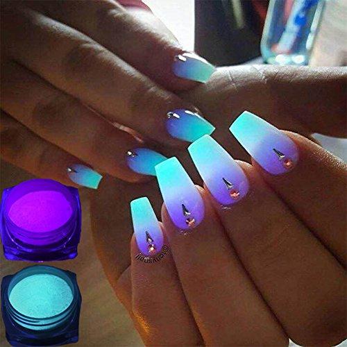 TOOGOO 12 boites / ensemble Poudre de phosphore au neon Poudre de paillettes d'ongle 12 Couleurs Poudre Pigment Lumineux Poudre fluorescente les paillettes d'ongles brillent dans l'obscurite