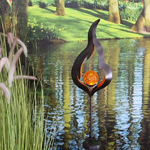 Kamaca XL LED SOLAR Gartenstab Wegeleuchte Gartenleuchte Flamme Metallstab mit beleuchteten Acryl-Kugel mit 1 Amber LED SOLARPANEL inklusive Erdspieß (Flamme)