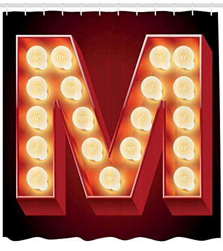 Letter M Shower Curtain, Vintage Alphabet Collection of Old Movie Theaters Casinos Retro Type, Cloth Fabric Bathroom Decor Set with Hooks, Vermilion Yellow,Size:72W X 72L Inche
