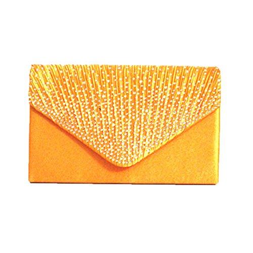 Satin Glänzend Strass Hochzeit Abendtasche Clutch Handtasche Handtasche Multicolor Orange