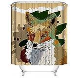 HUIYIYANG Benutzerdefinierte Duschvorhang, Tiere Watercolor Splash Colorful Cute FoxWasserdichter Anti Mehltau Gewebe Polyester Badezimmer Duschvorhang 60