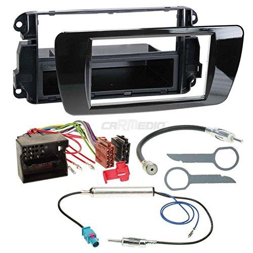 Seat Ibiza 6J ab 08 1-DIN Autoradio Einbauset in original Plug&Play Qualität mit Antennenadapter, Radioanschlusskabel, Zubehör und Radioblende/Einbaurahmen Hochglanz-schwarz