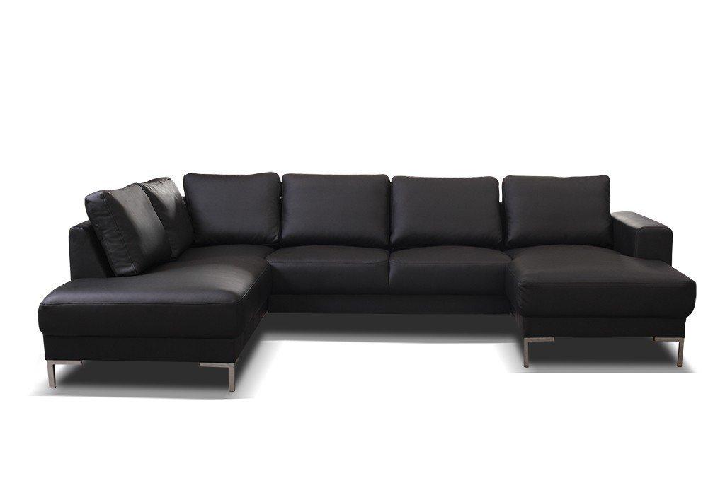 Kuchen Preisbombe Top Sofa Couch Ecksofa Eckcouch Wohnlandschaft In Kunstleder Schwarz Silvio Xxl Mobelbilliger De