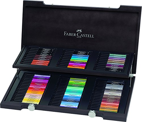 Faber-Castell 167400 – Estuche de madera con 90 rotuladores Pitt punta de pincel, multicolor