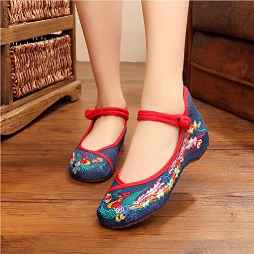 Zhhlaixing Women Vintage Embroidered Dancing Shoes Chinese Style Flat Cotton Shoes Denim Blue