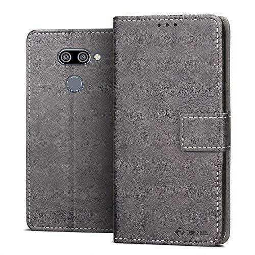 RIFFUE Hülle für LG Q60 Hülle, LG K50/LG Q60 2019 Schutzhülle Retro PU Leder Case Vintage Brieftasche Handyhülle Flip Cover mit Kickstand & Card Slots 6,26 Zoll - Grau