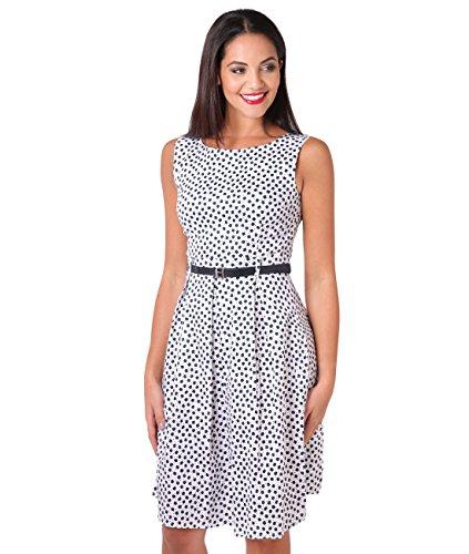 KRISP 7158-WHT-12 Damen 50er Jahre Vintage Kleid (Weiß, Gr.40)