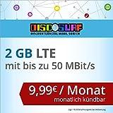 discoSURF Internet-Flat 2 GB LTE [SIM, Micro-SIM und Nano-SIM] monatlich kündbar (2 GB LTE mit max. 50 MBit/s, 9,99 Euro/Monat ) O2-Netz preiswert