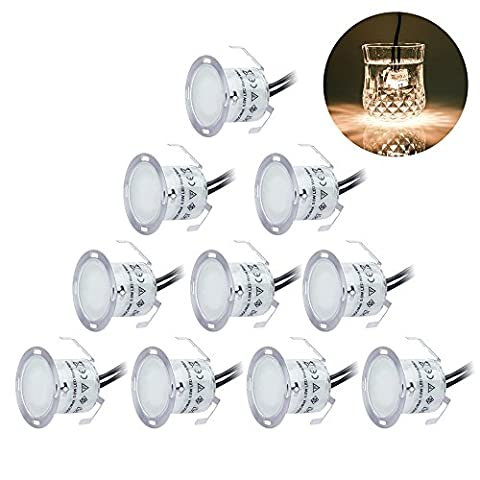LED Plinth Lights/ Deck Lighting Kits 10 pcs Waterproof IP67, Warm White 22mm Low Voltage Recessed Deck Lights for Kitchen Skirting Kickboards Staircase Patio Garden Pathway Timber