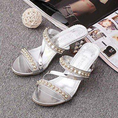 LXILX Sandales femmes Printemps Été Chaussures Slingback Club de plein air et de l'emploi de bureau en simili cuir Talon bas décontracté Talon Rhinestone Crystal Silver