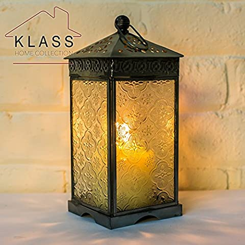 MOROCCAN FRENCH STYLE SILVER & CLEAR PATTERNED GLASS LANTERN (Large)