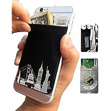 Gecko–Funda para teléfono Cartera y bloqueo RFID, un adhesivo elástico lycra tarjeta soporte universal compatible con la mayoría de teléfonos móviles y casos. Xtra Tall bolsillo cubre totalmente tarjetas de crédito y efectivo negro US City