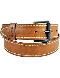 POLICE Men's Genuine Leather Belt - Dark Tan