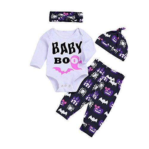 SEWORLD Baby Halloween Kleidung,Niedlich Infant Baby Mädchen Jungen Brief Print Strampler Stirnbänder Hosen Cap Halloween Outfits 12 Monate