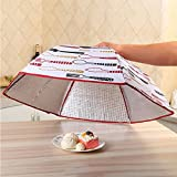 CONNECTWIDE Insulated Food Cover Aluminum Foil Anti-Dust Heat Preservation Foldable Table Top Dish Cover- Hand Washable And Reusable For Kitchen, Home & Office (Round): 65*65*17 Cm
