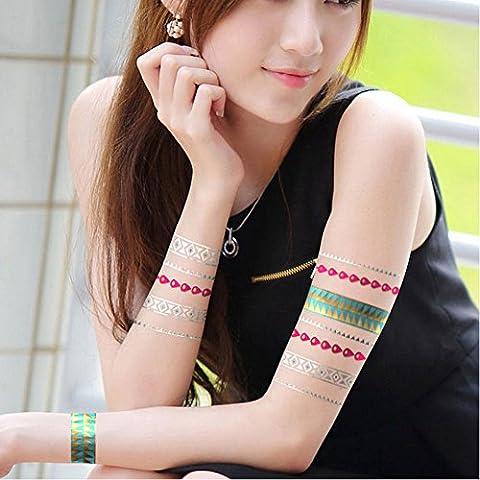 TAFLY Temporal Del Tatuaje Del Color Transferencia Plata Oro Metálico Adhesivo 3 Hojas