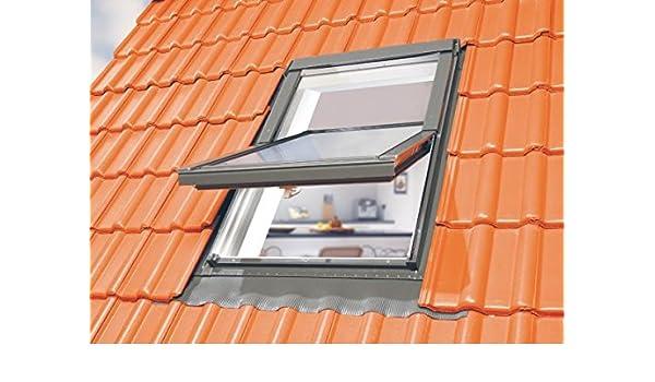 Optilight Dachfenster 78x118 mit Eindeckrahmen wellig /& Dauerl/üftung FAKRO Konzern