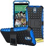 FoneExpert HTC Desire 610 - Etui Housse Coque ShockProof Robuste Impact Armure Hybride Béquille Cover pour HTC Desire 610 + Film de Protection d'Ecran (Bleu)